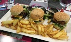farandole d'hamburger (poisson, bœuf, poulet)